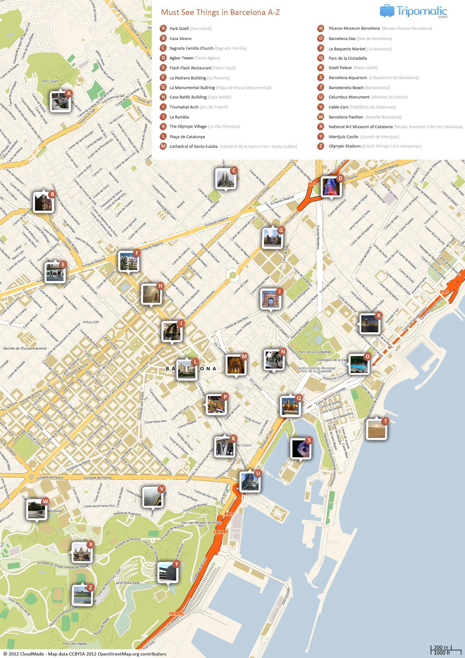 Barcelona Printable Tourist Map   Barcelona   Barcelona Tourist - Printable Map Of Barcelona