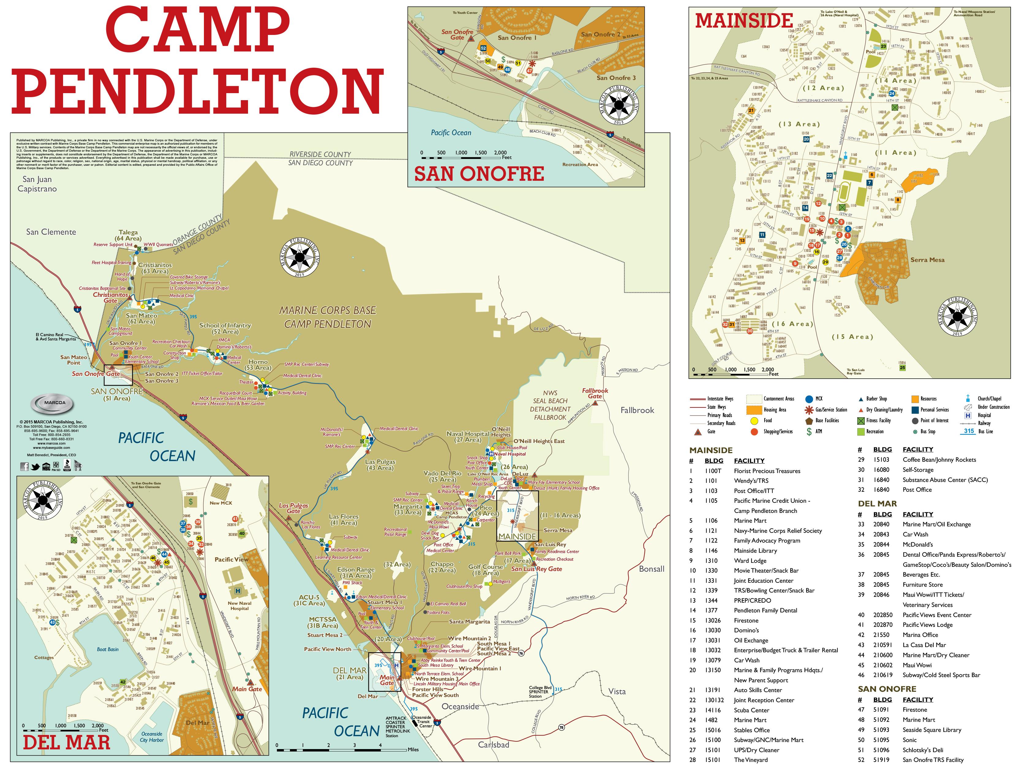 Base Maps — Mccs Camp Pendleton - Dod Lodging California Map