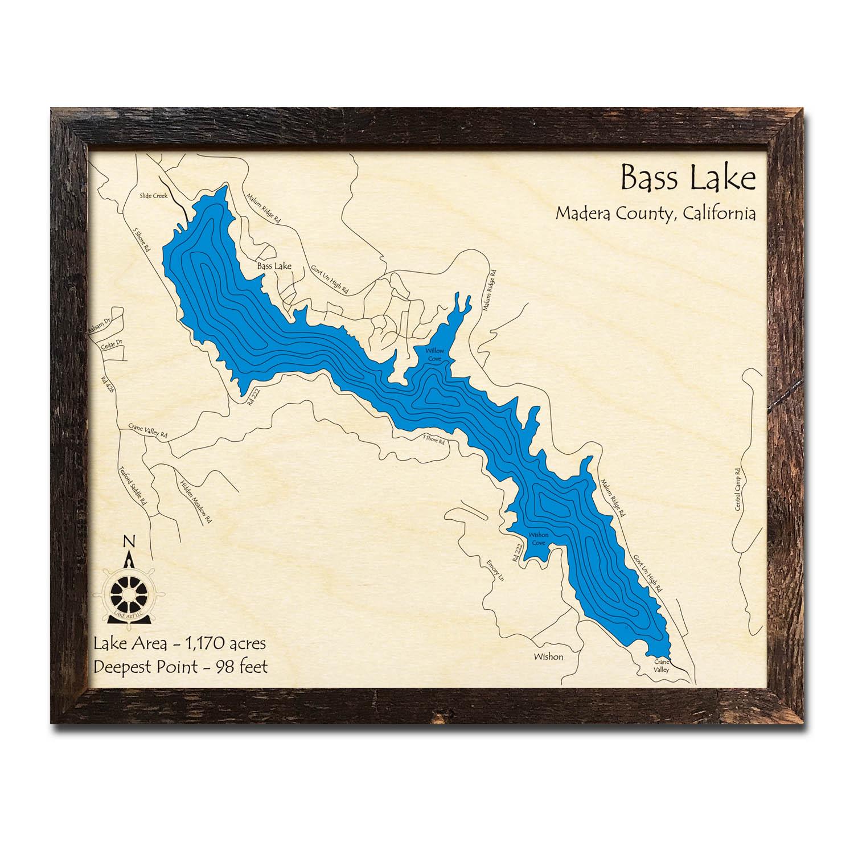 Bass Lake, Ca Nautical Wood Maps - Bass Lake California Map