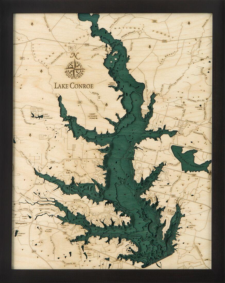 Bathymetric Map Lake Conroe, Texas In 2019   Bathymetric Maps - Map Of Lake Conroe Texas