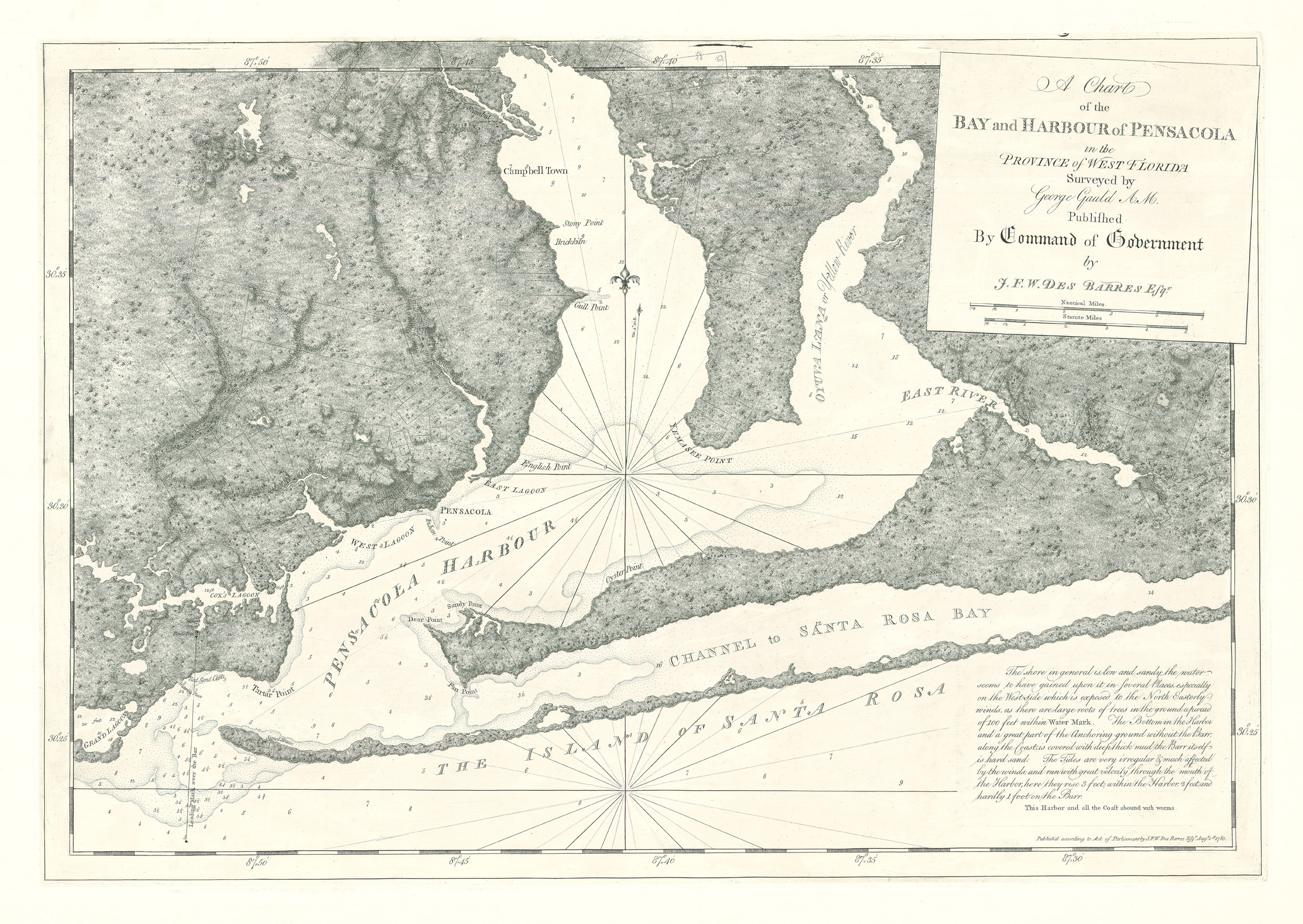 Bay And Harbour Of Pensacola In The Province Of West Florida - Old Maps Of Pensacola Florida