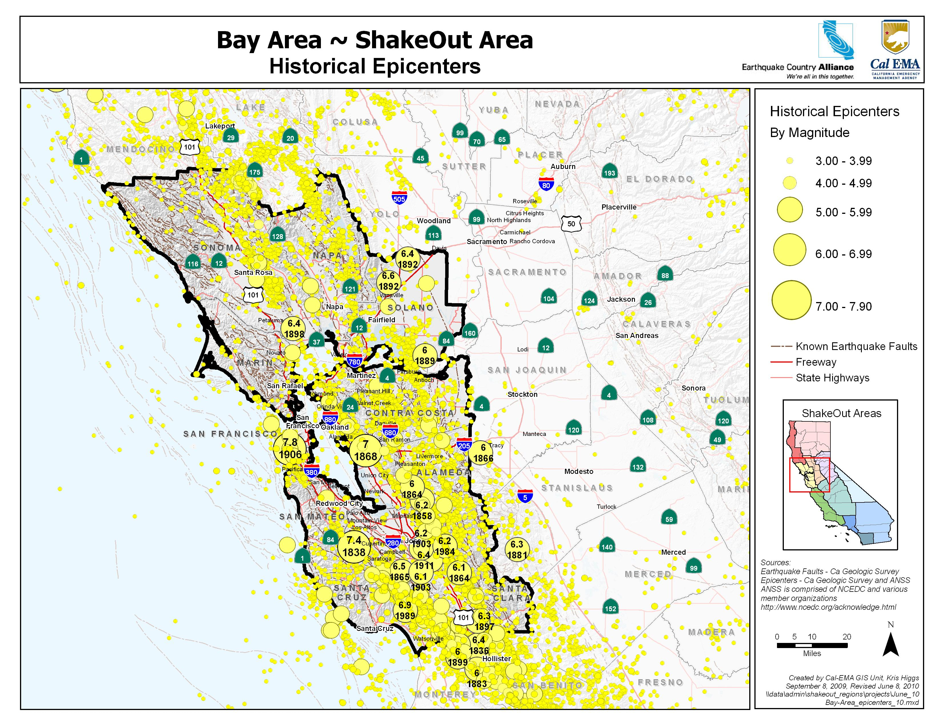 Bay Area Epicenters Map Picture Maps California Earthquake Risk Map - Map Of Bay Area California Cities