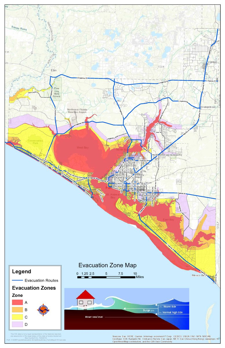 "Bay County Fl Em On Twitter: ""here Is A Map With The Evacuation - Bay County Florida Gis Maps"