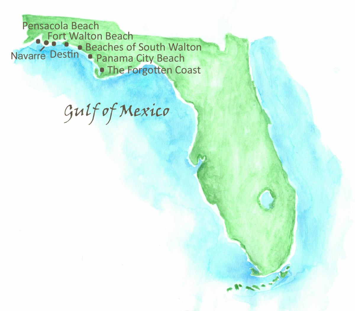 Beaches Of Northwest Florida Map - Southern Vacation Rentals - Northwest Florida Beaches Map