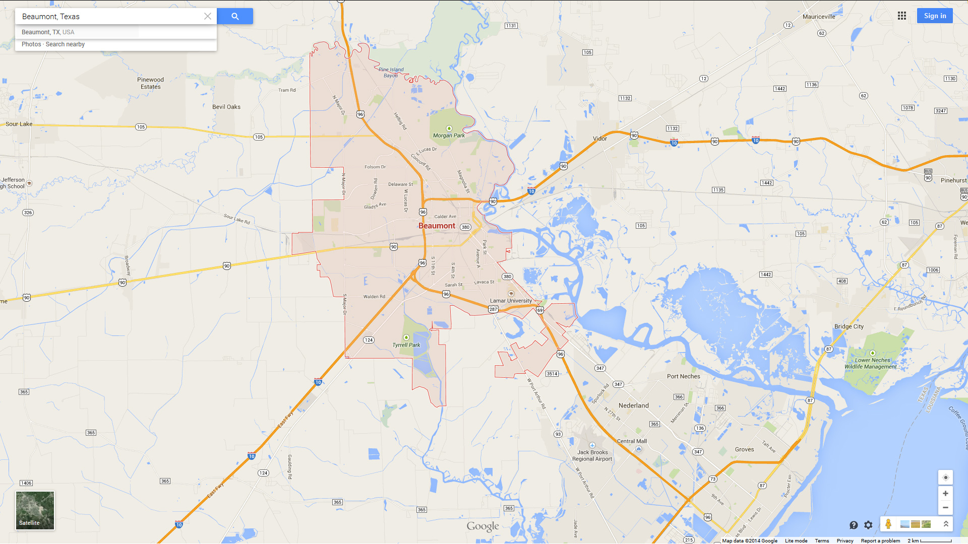 Beaumont, Texas Map - Google Maps Beaumont Texas