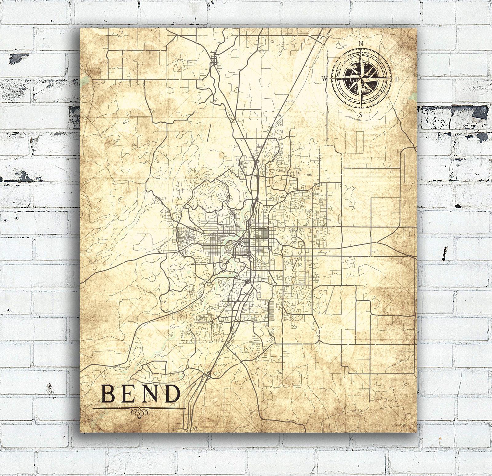 Bend Or Canvas Print Oregon Vintage Map Bend Or City Vintage Map - Printable Map Of Bend Or