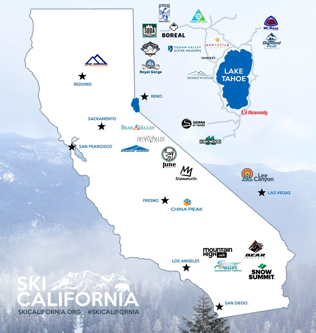 Best California Ski Resorts Map California California Ski Resort Map - California Ski Resorts Map