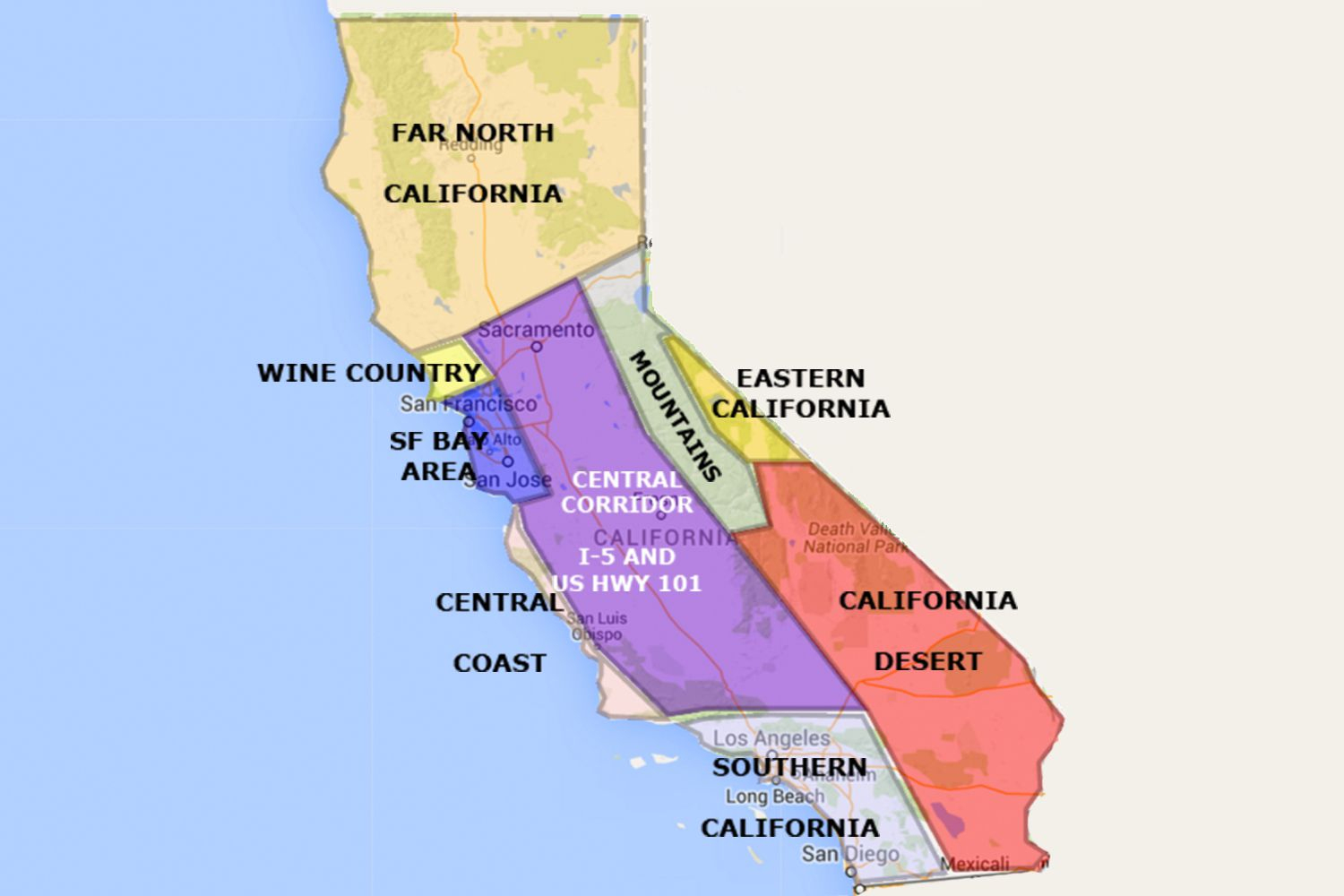 Best California Statearea And Regions Map - Map Of Central And Northern California Coast