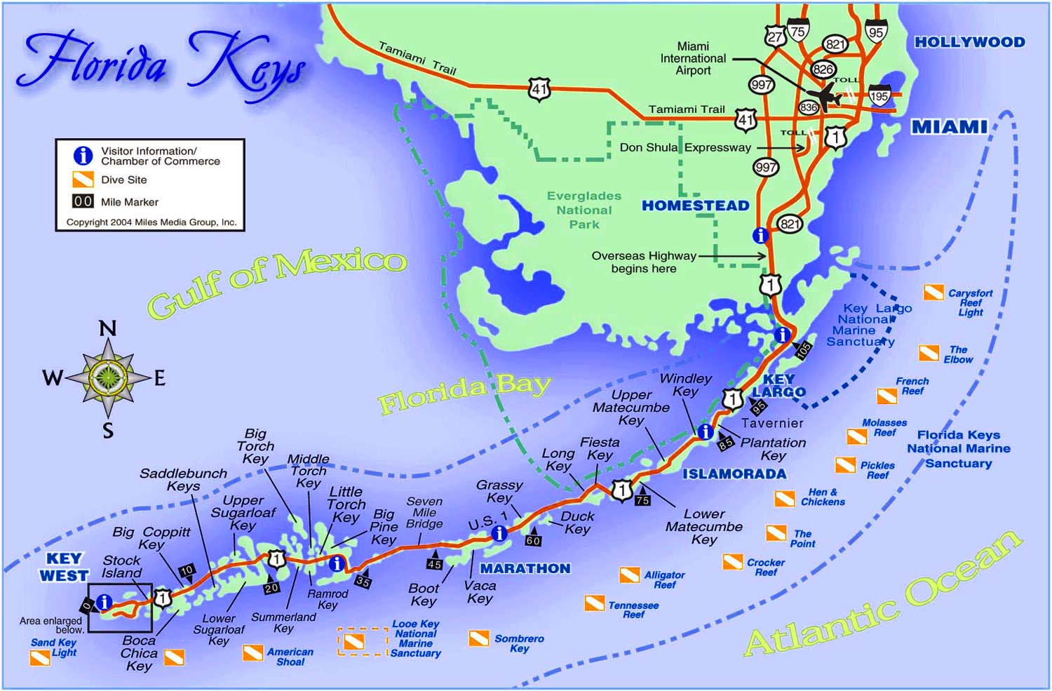 Best Florida Keys Beaches Map And Information - Florida Keys - Florida Springs Diving Map