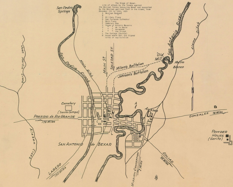 Bexar Co. Txgenweb - Siege Of Bexar Map - Map Of The Alamo San Antonio Texas