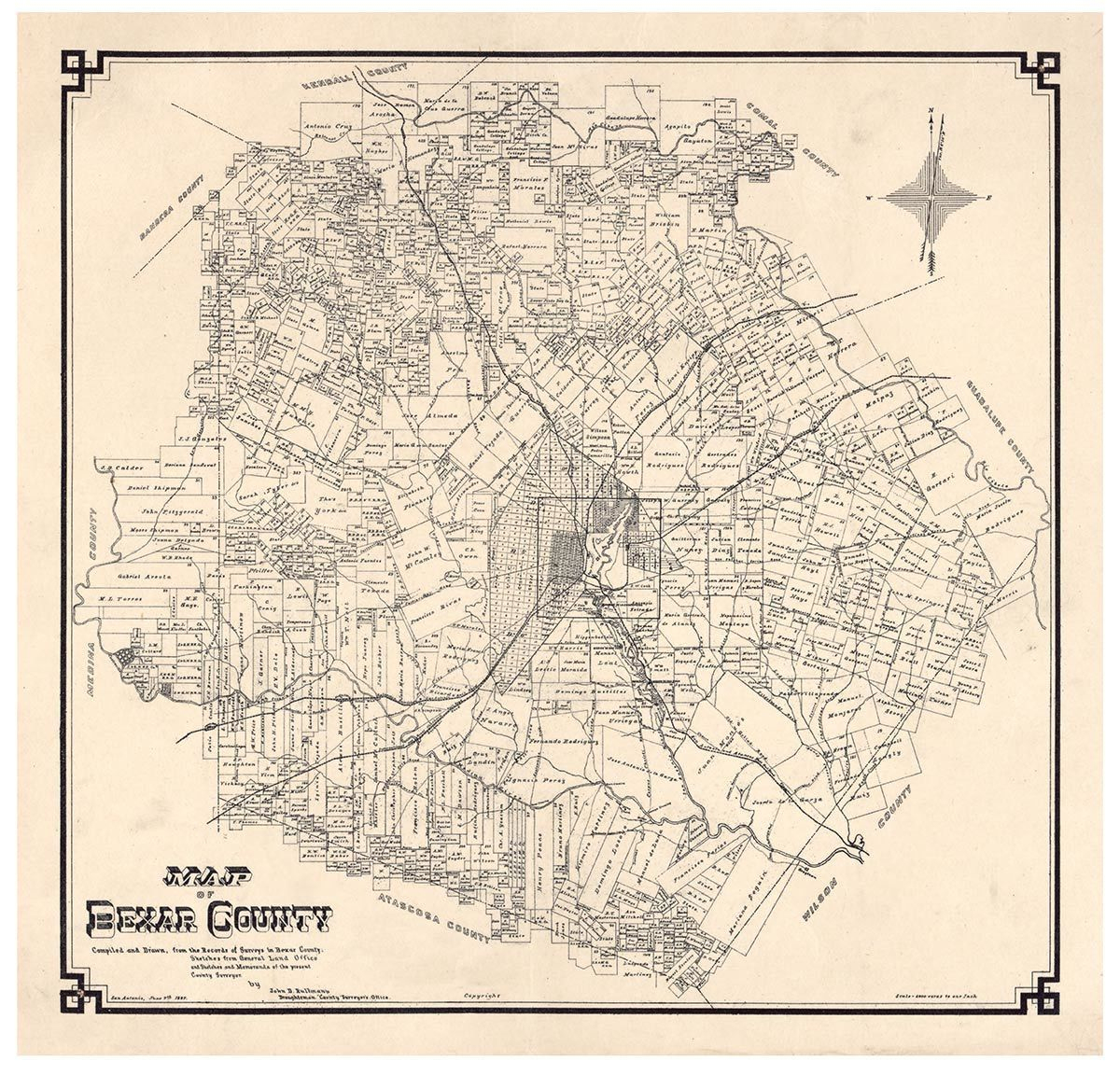 Bexar County Texas 1887A - Old Map Reprint - Old Maps | Texas County - Texas County Wall Map