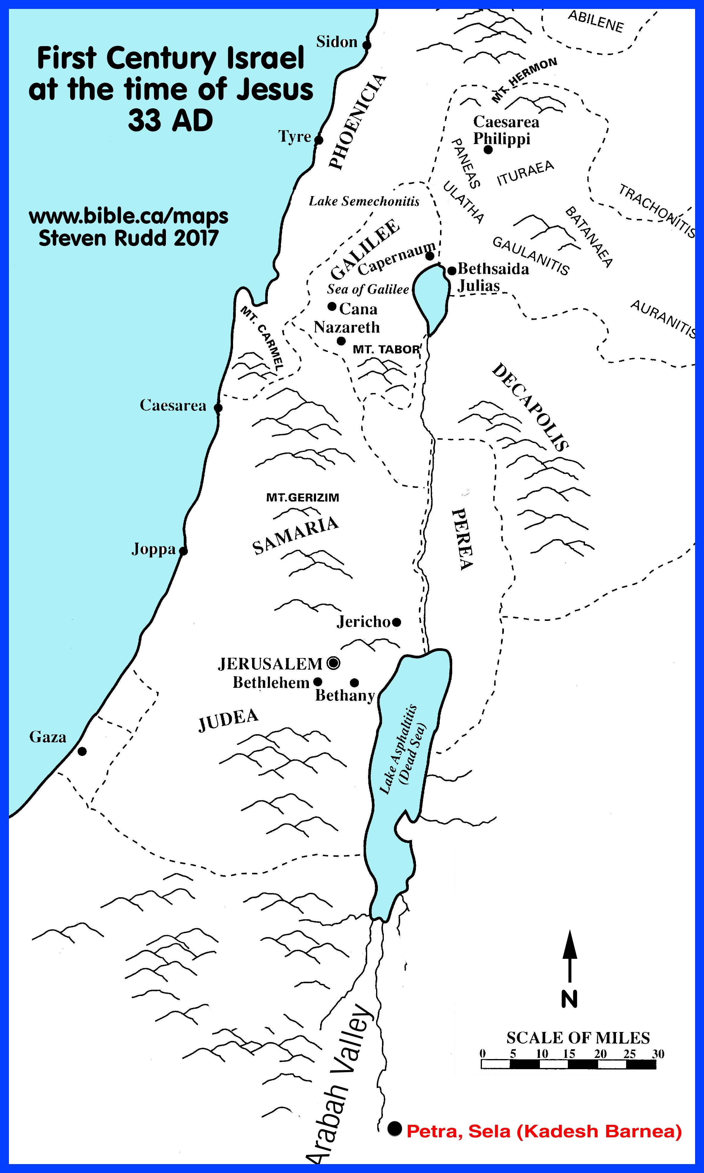 Bible Maps: Palestine At The Time Of Jesus 33 Ad - Printable Bible Maps