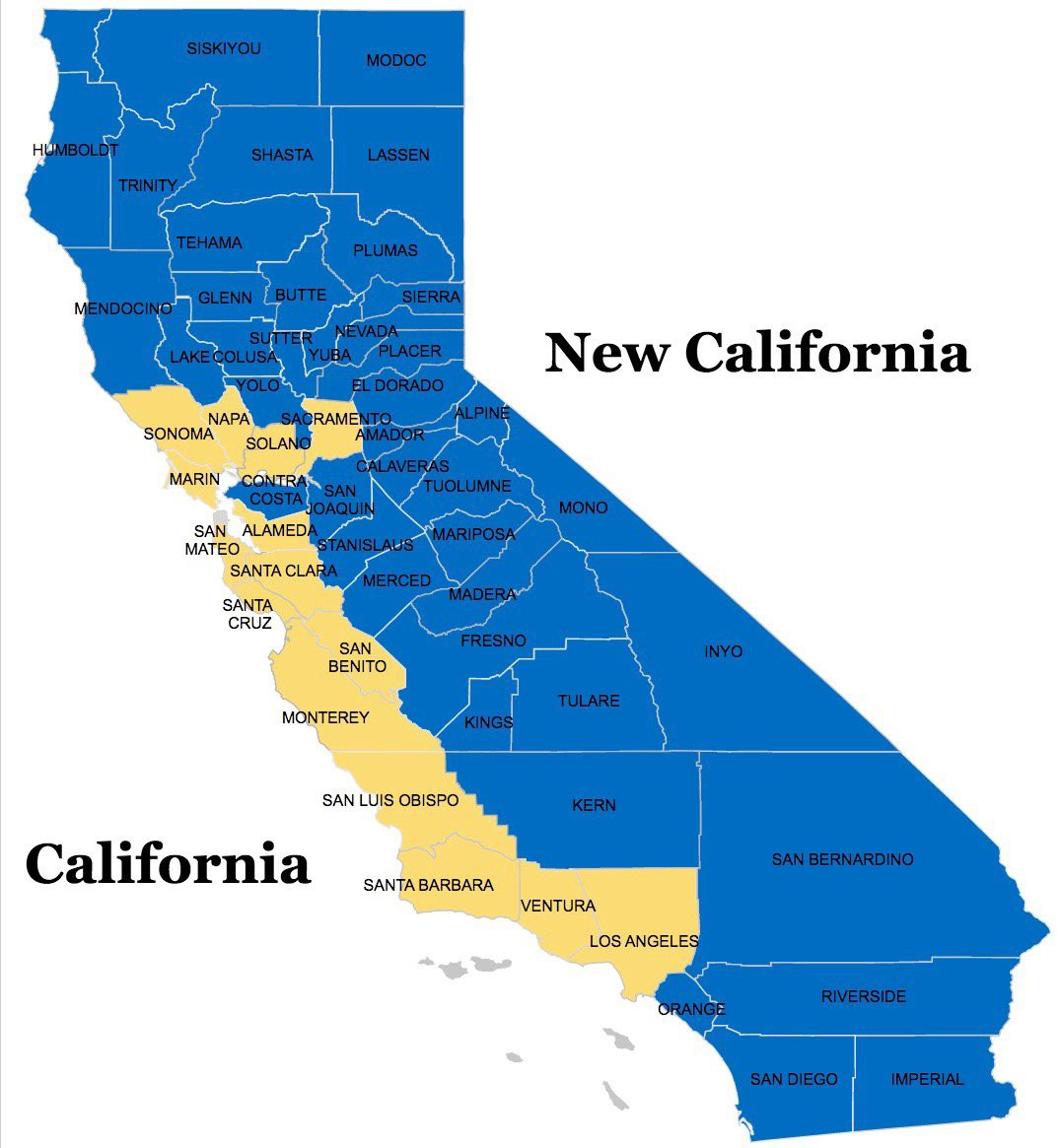 Bid For A 'new California' Would Split State In Two - Divide California Map