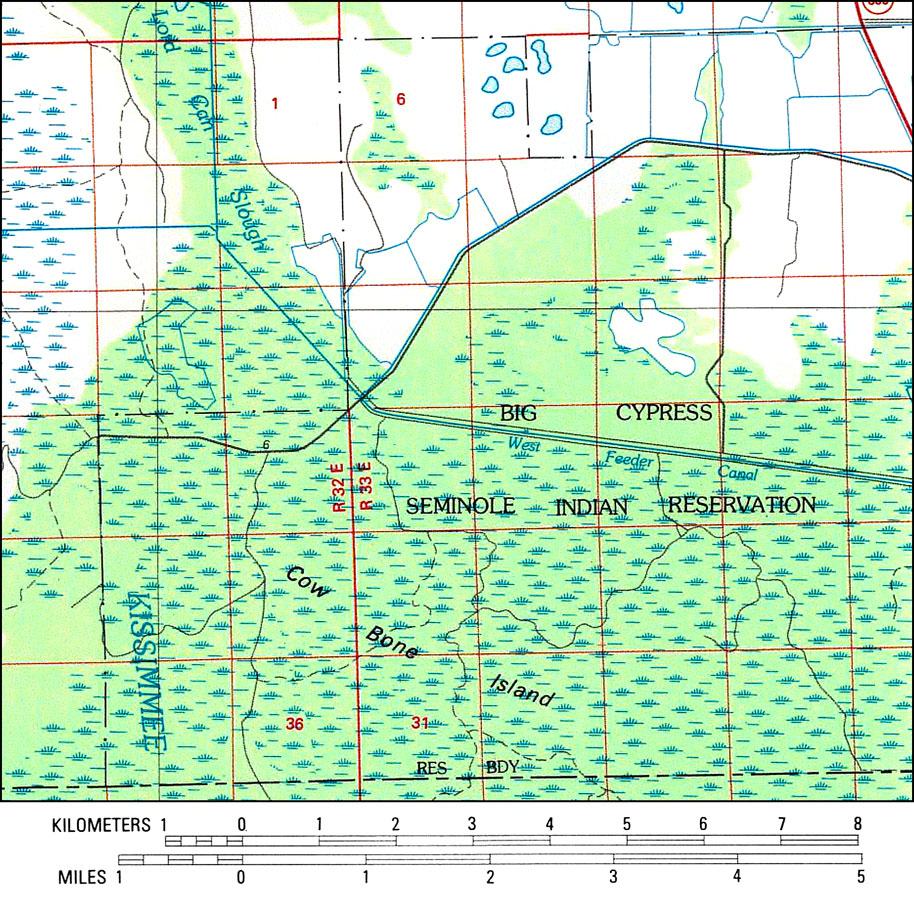 Big Cypress Seminole Indian Reservation, 1985 - Seminole Florida Map