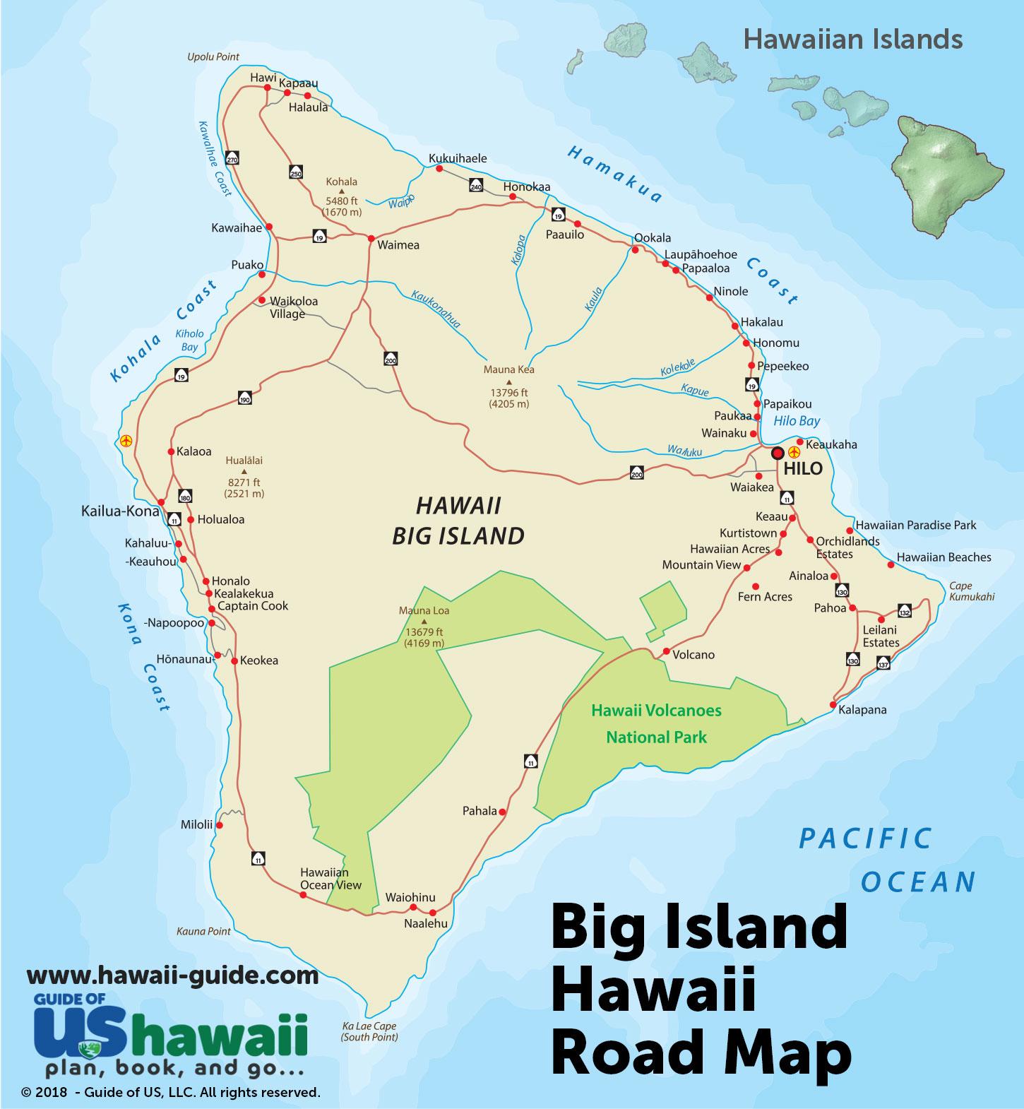 Big Island Of Hawaii Maps - Printable Road Map Of Kauai