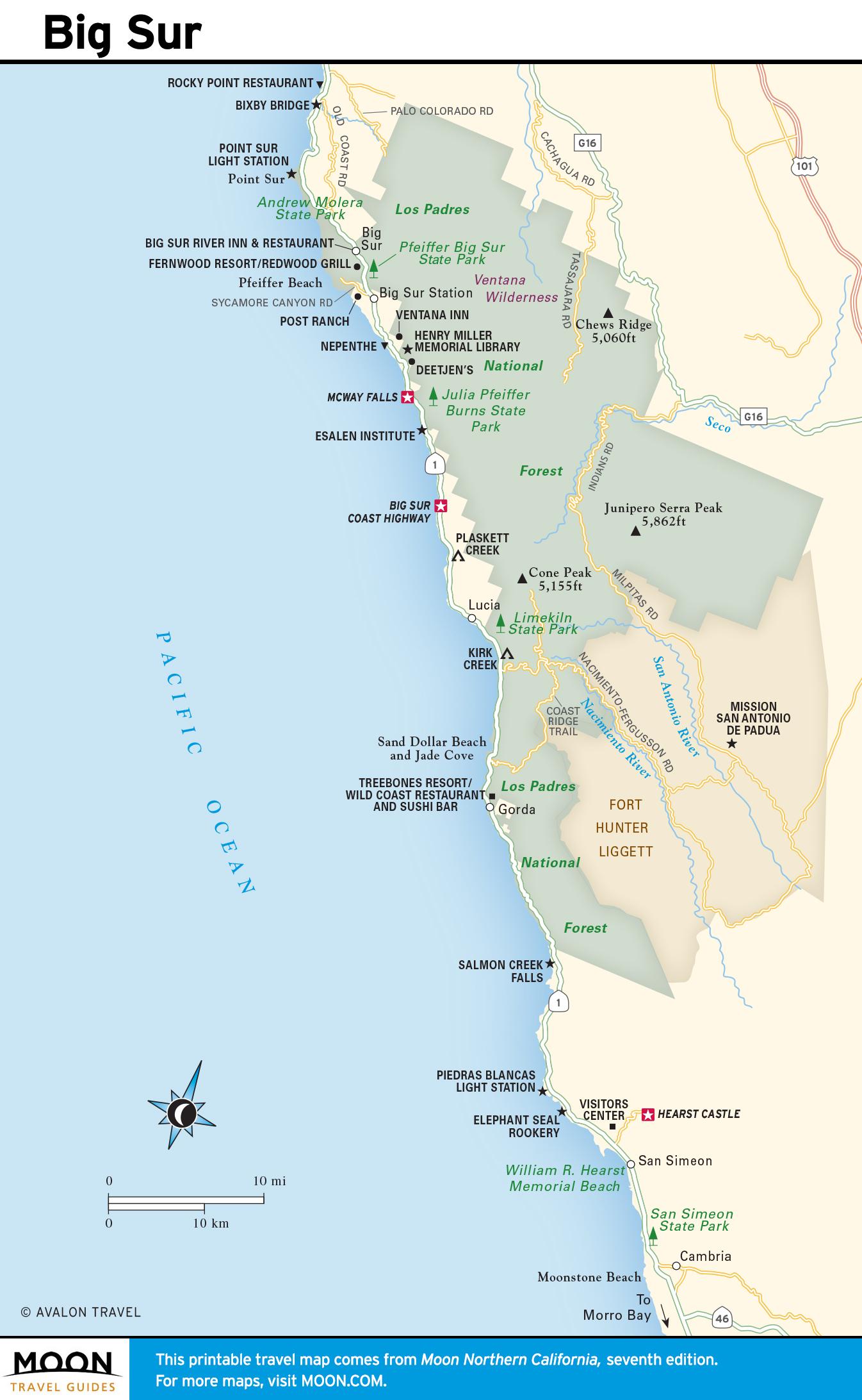 Big Sur Hd Hq Map California Coast Attractions Map - Klipy - California Coast Attractions Map