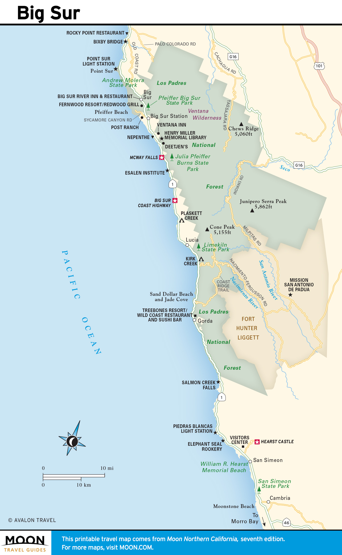 Big Sur High-Quality Map Of Map Of Central California Coast - Klipy - Map Of Central California Coast Towns