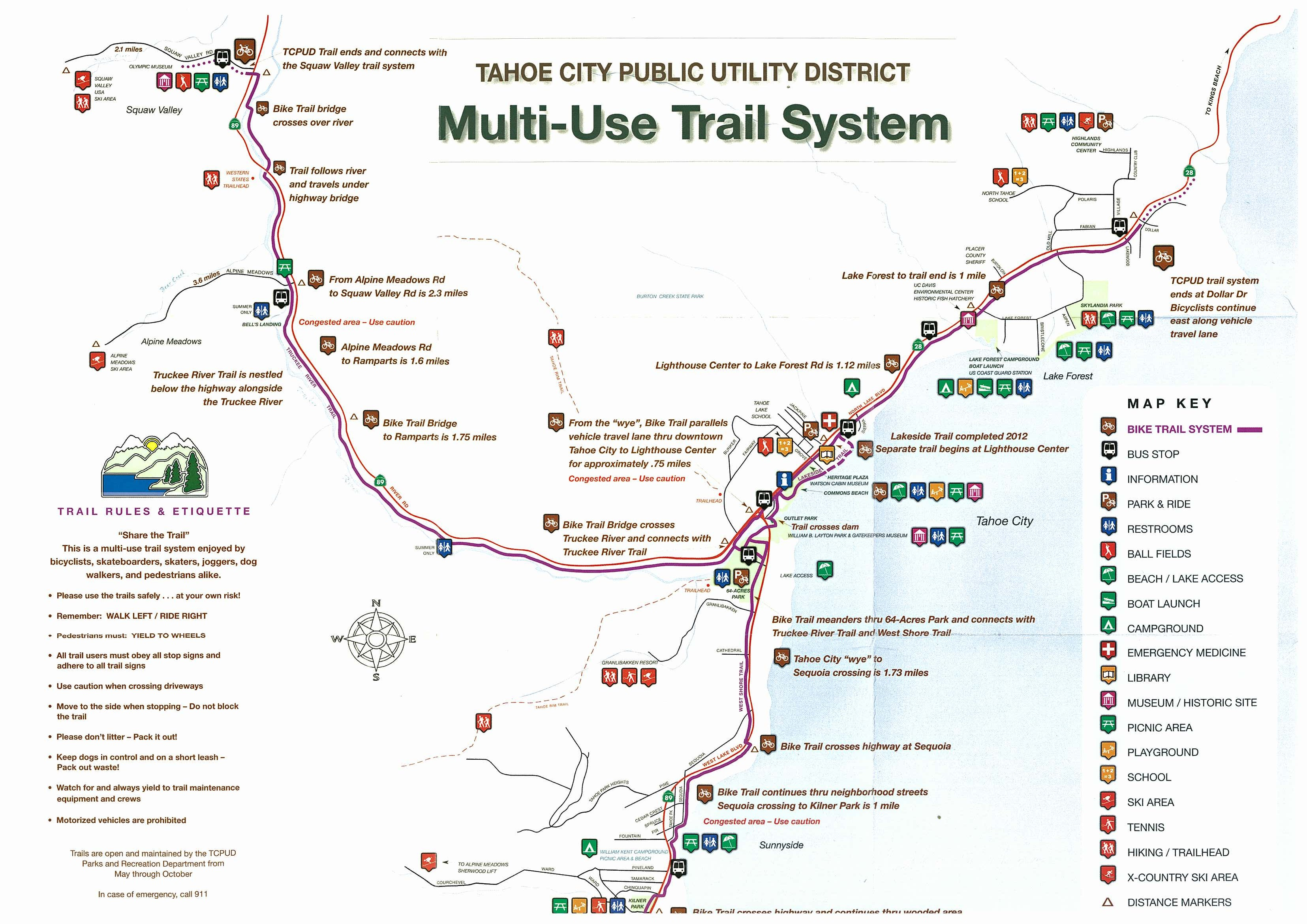 Bike Riding Map For North Lake Tahoe – Www.tahoelaurarealestate - Tahoe City California Map