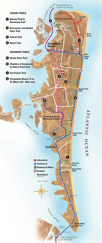 Bike Trails On Amelia Island - Bike Scoot Or Yak - Amelia Island Florida Map