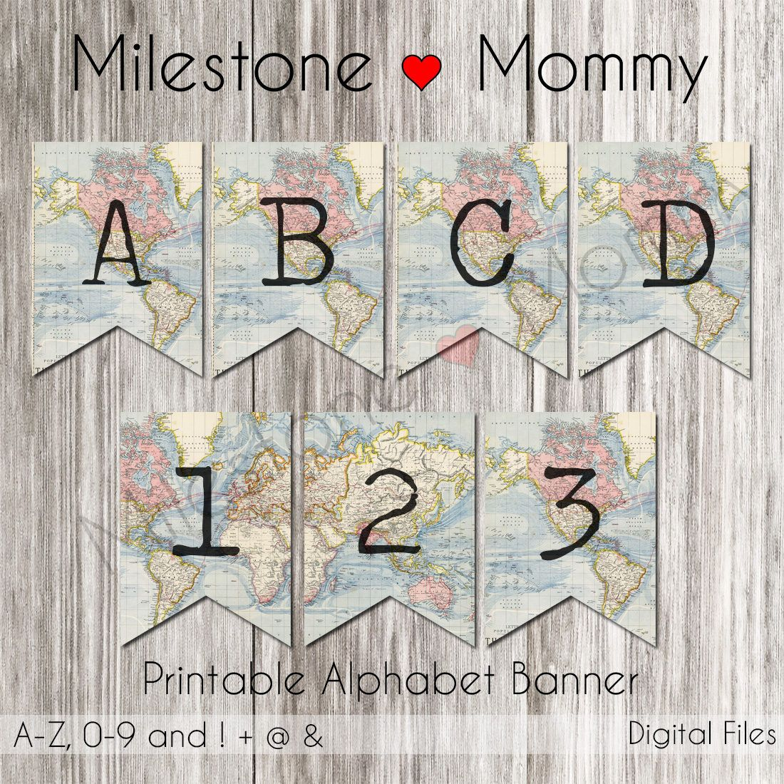 Birthday Banner Map, Travel Party Banner, Printable Banner Alphabet - Printable Map Banner
