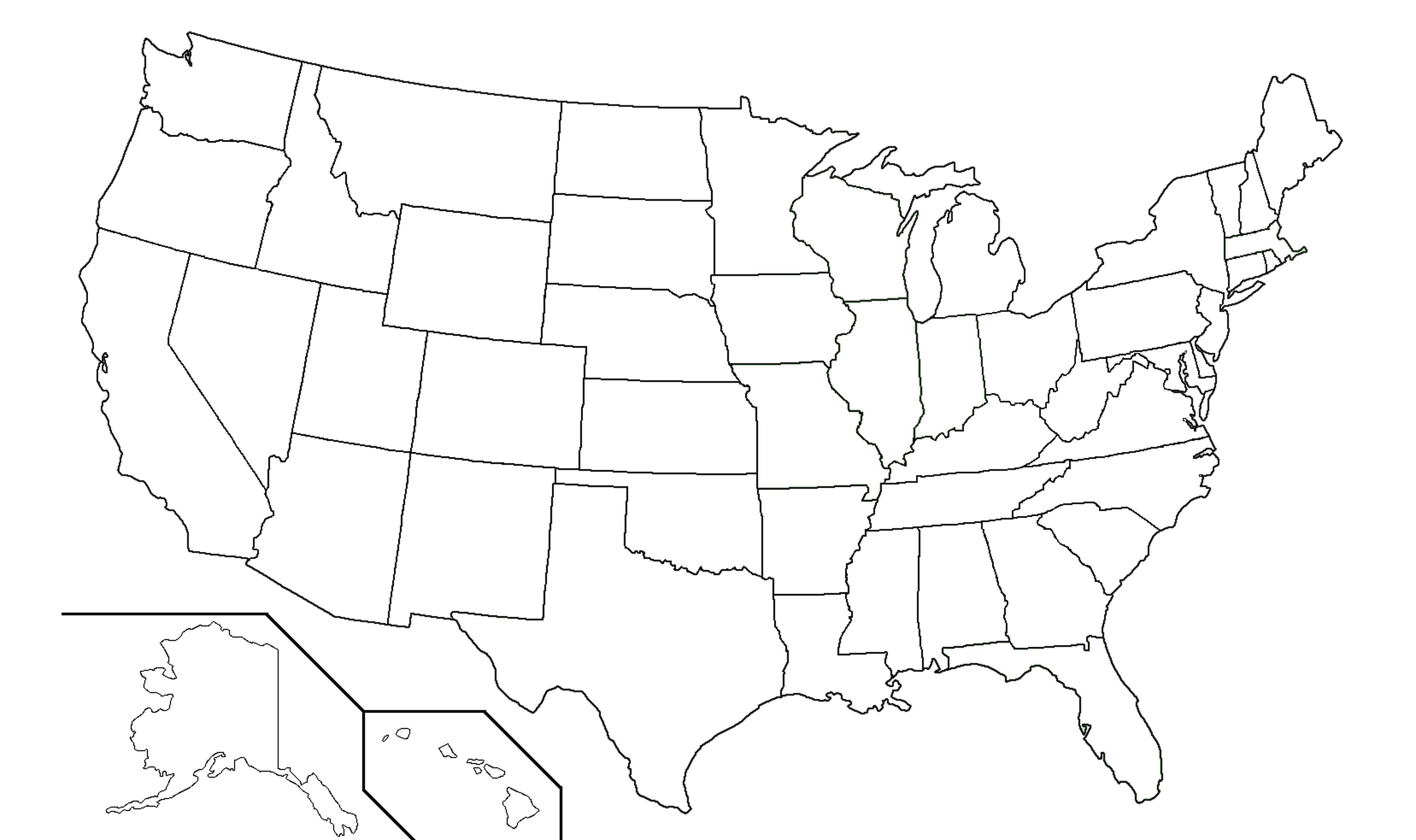 Black And White Us State Map Printable Us State Map Black And White - Printable Picture Of United States Map