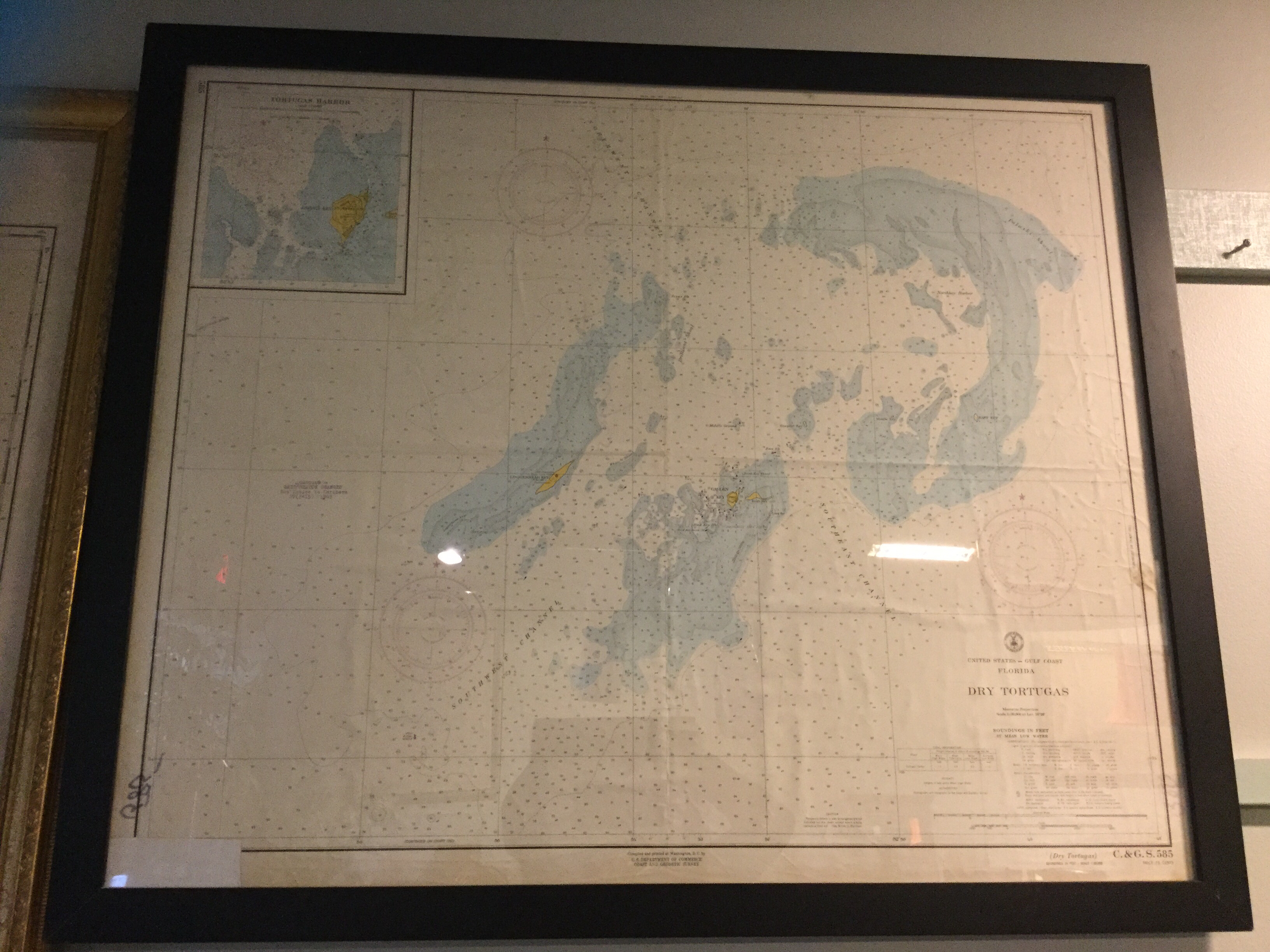Black Framed Map Of Dry Tortugas Florida Gulf Coast | Consignment - Framed Map Of Florida