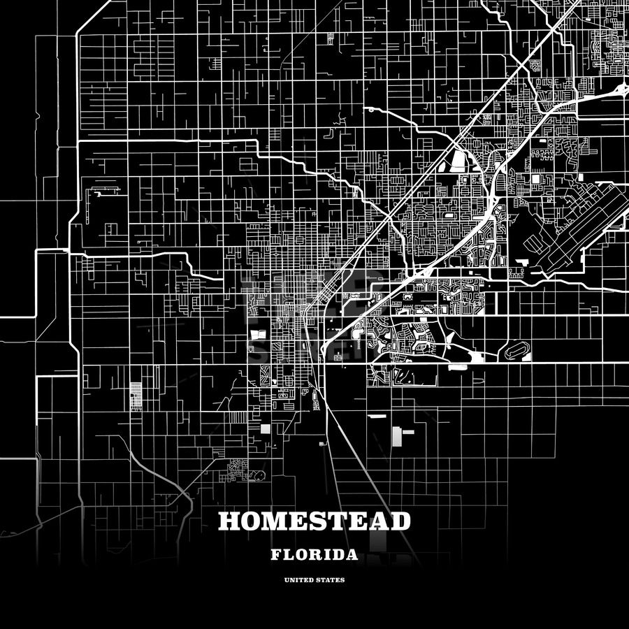 Black Map Poster Template Of Homestead, Florida, Usa | Maps Vector - Homestead Florida Map