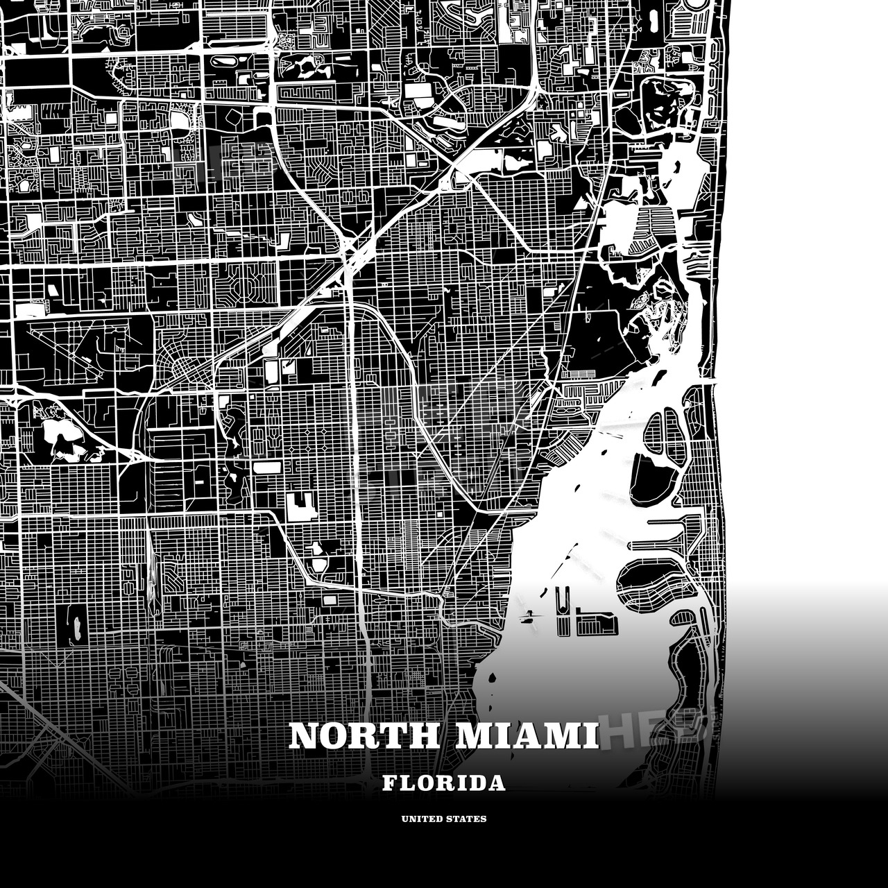 Black Map Poster Template Of North Miami, Florida, Usa | Hebstreits - Florida Map Poster