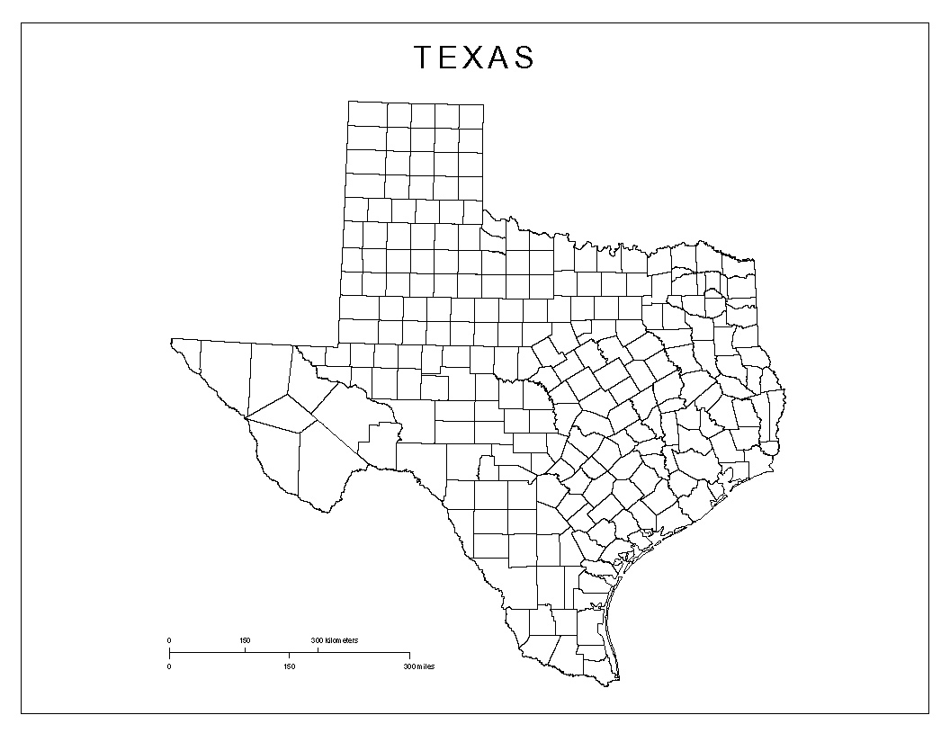 Blank County Map Of Texas - Texas Map With County Lines