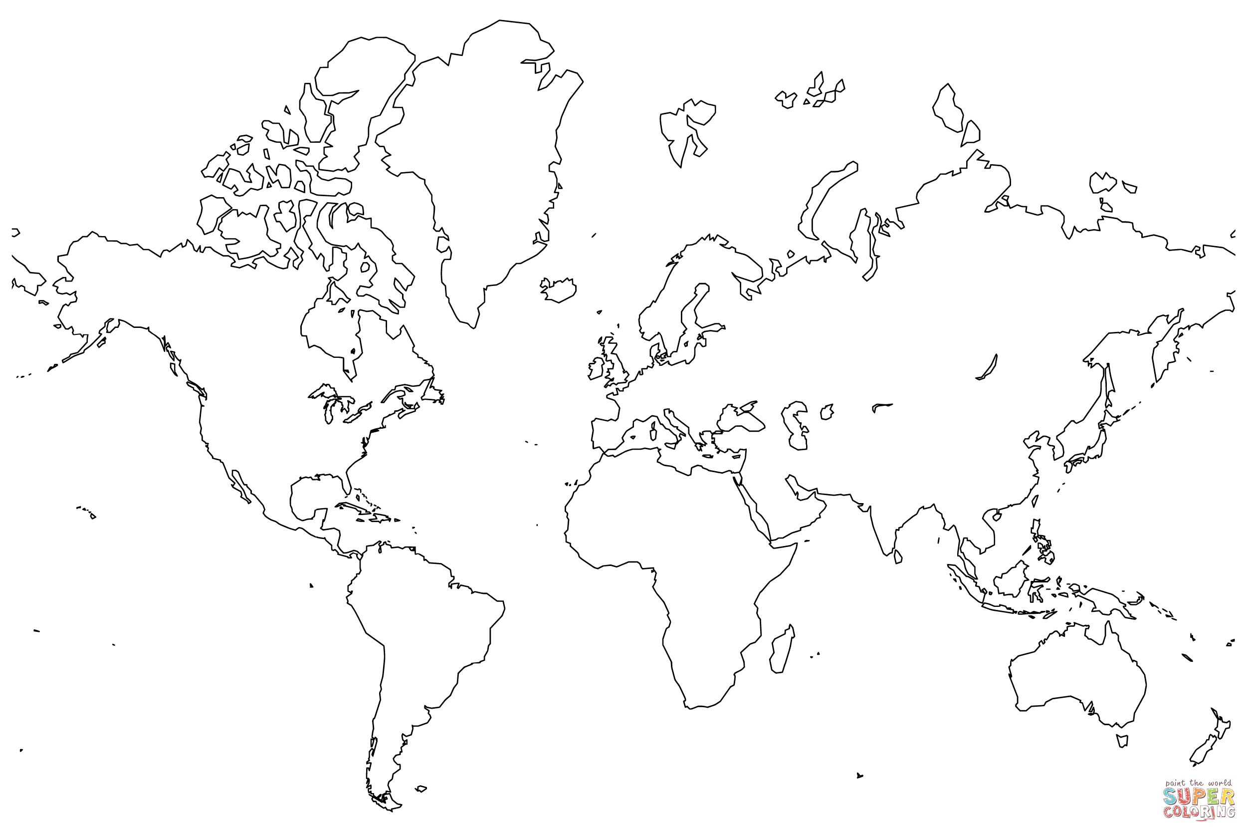 Blank Map Of The World Coloring Page | Free Printable Coloring Pages - Coloring World Map Printable