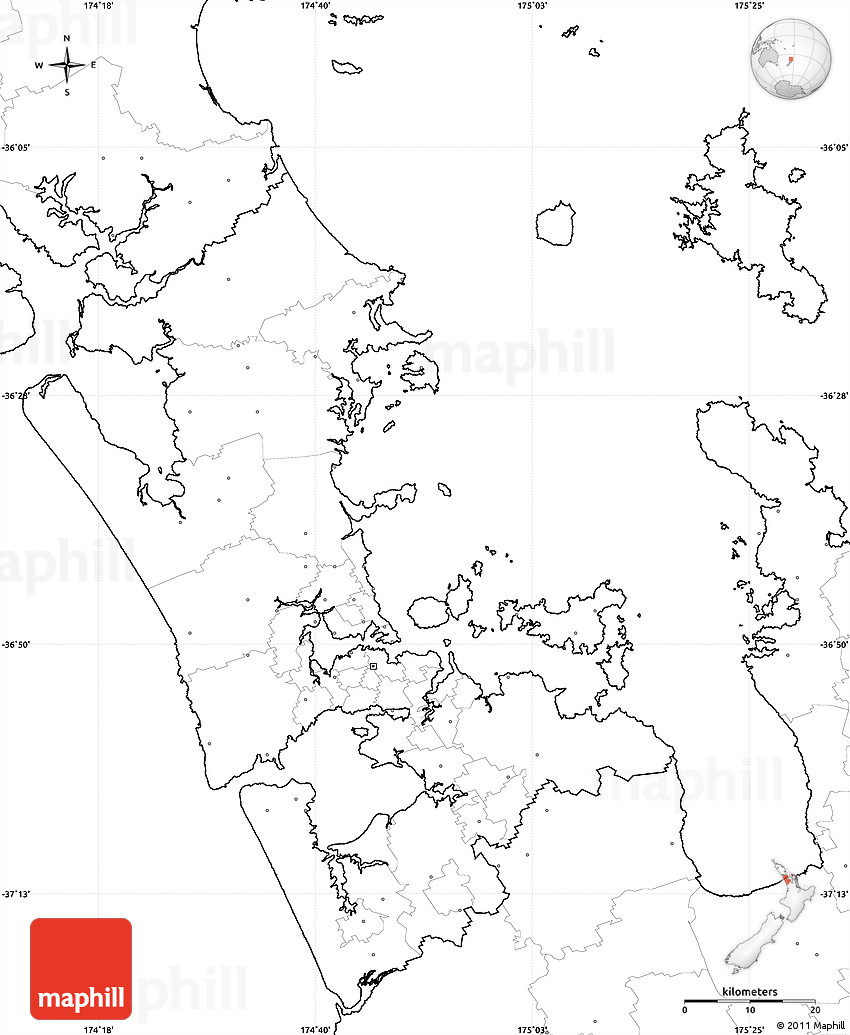 Blank Simple Map Of Auckland, No Labels - Printable Map Of Auckland