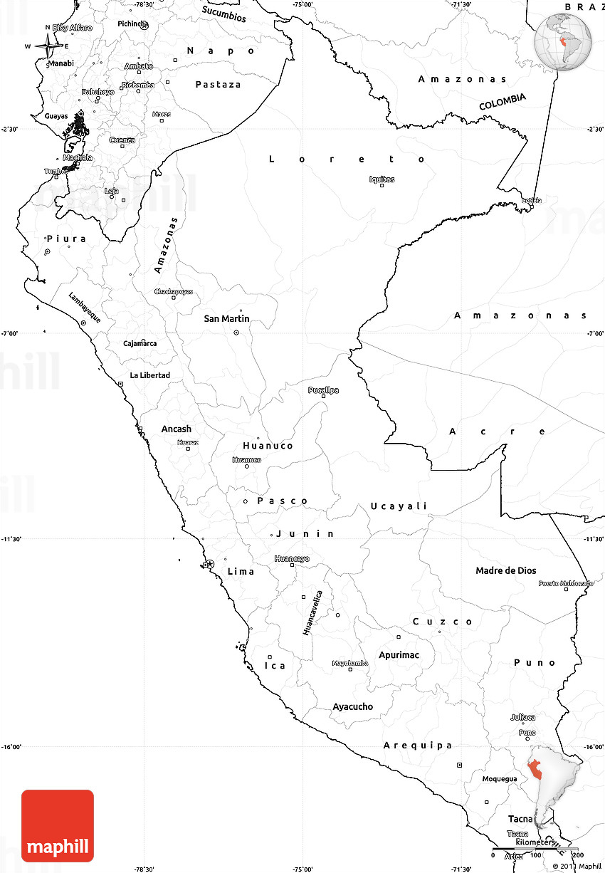 Blank Simple Map Of Peru - Printable Map Of Peru