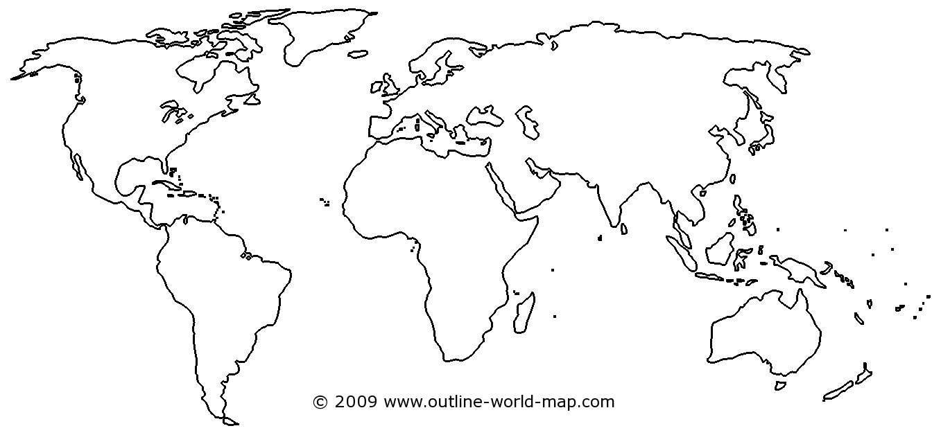 Blank World Map Image With White Areas And Thick Borders - B3C | Ecc - World Map Stencil Printable