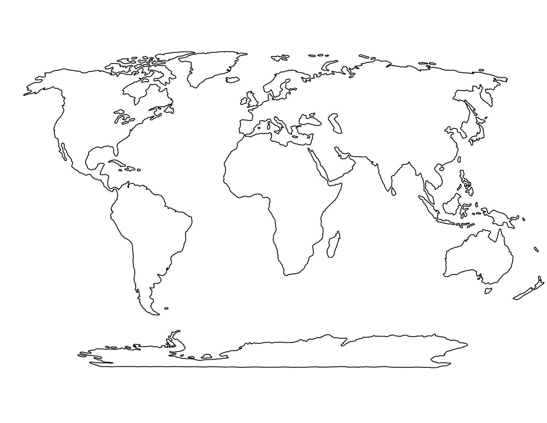 Blank World Map Printable | Social Studies | Pinterest | World Map - Printable Earth Map