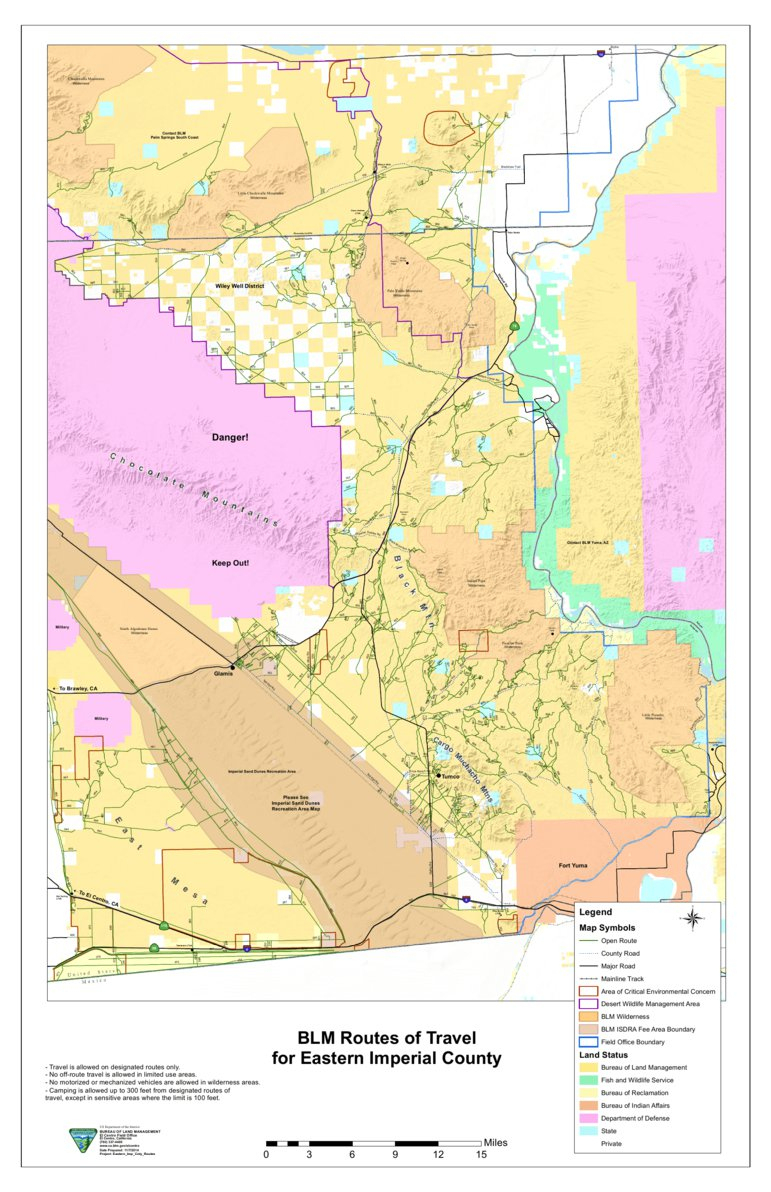 Blm - Eastern Imperial County Route Map - Blm - California - Avenza Maps - Blm Ohv Maps California