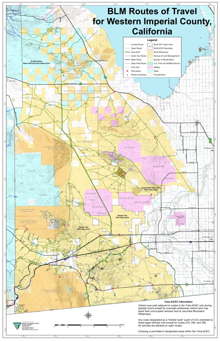 Blm - Western Imperial County Route Map - Blm - California - Avenza Maps - Blm Ohv Maps California