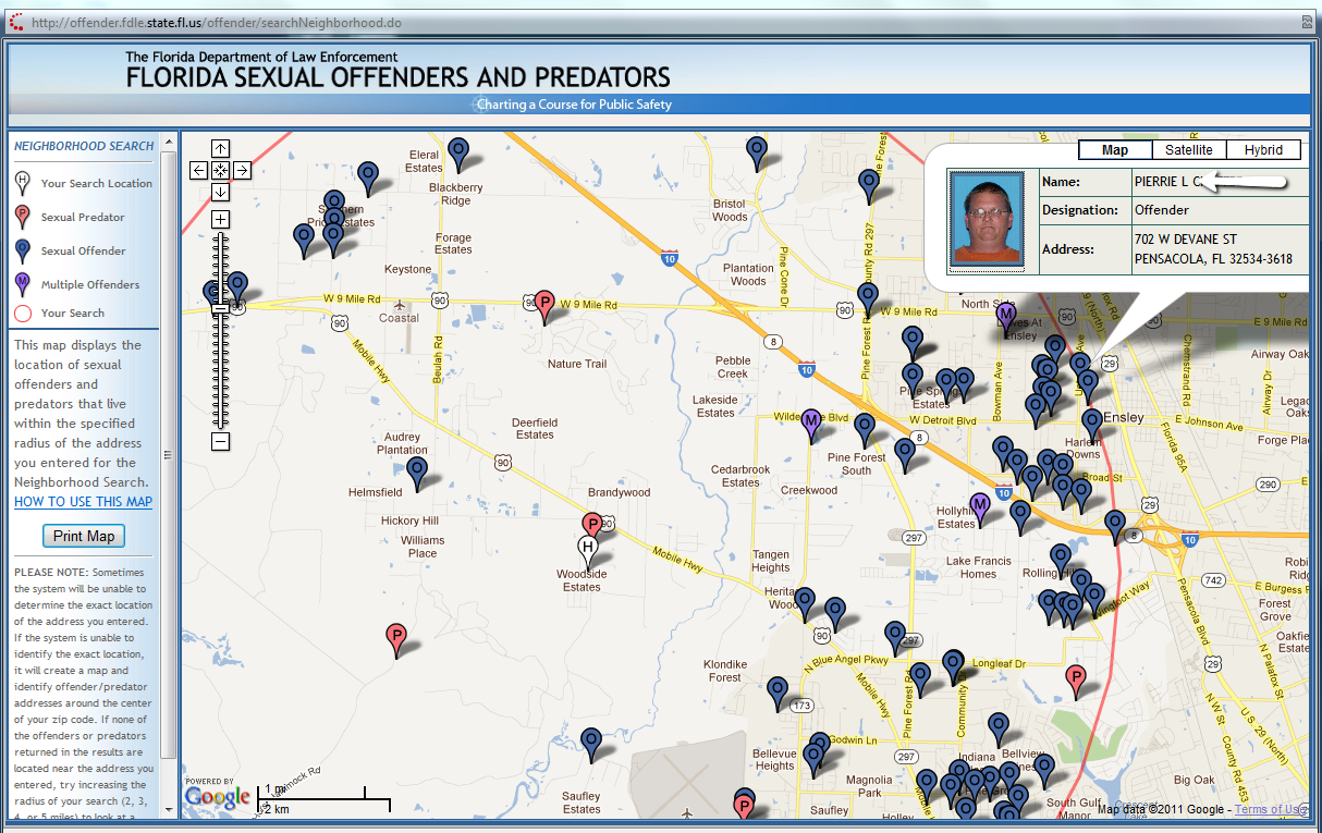 Blog From Realty Masters In Pensacola Florida - Sexual Predator Map Florida