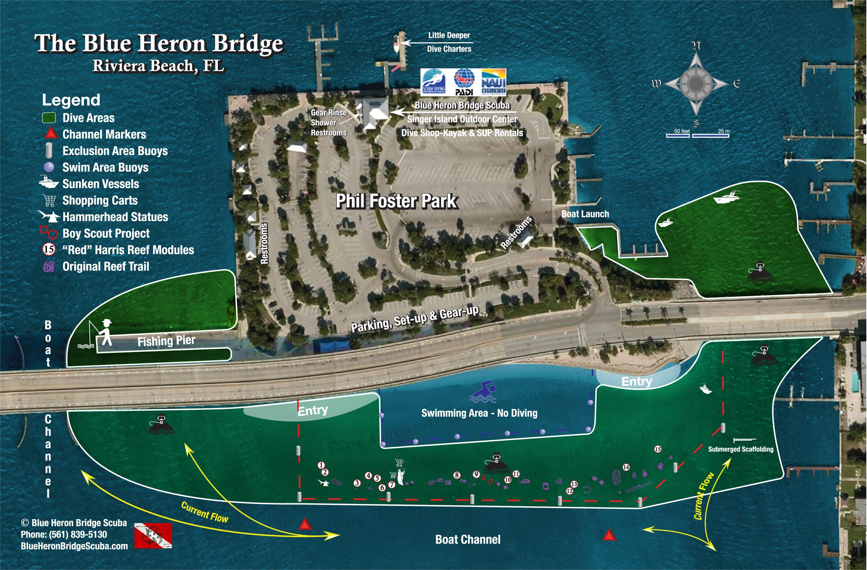 Blue Heron Bridge Scuba - The Best Shore Diving In The Americas - Florida Dive Sites Map