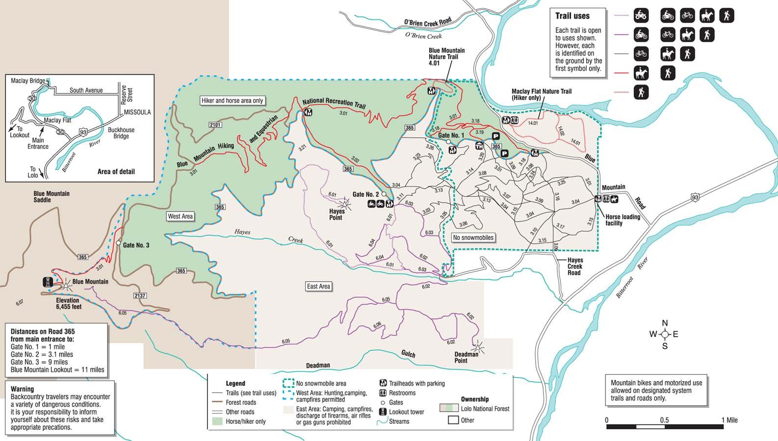 Blue Mountain Recreation Area - Trailmeister - Printable Missoula Map