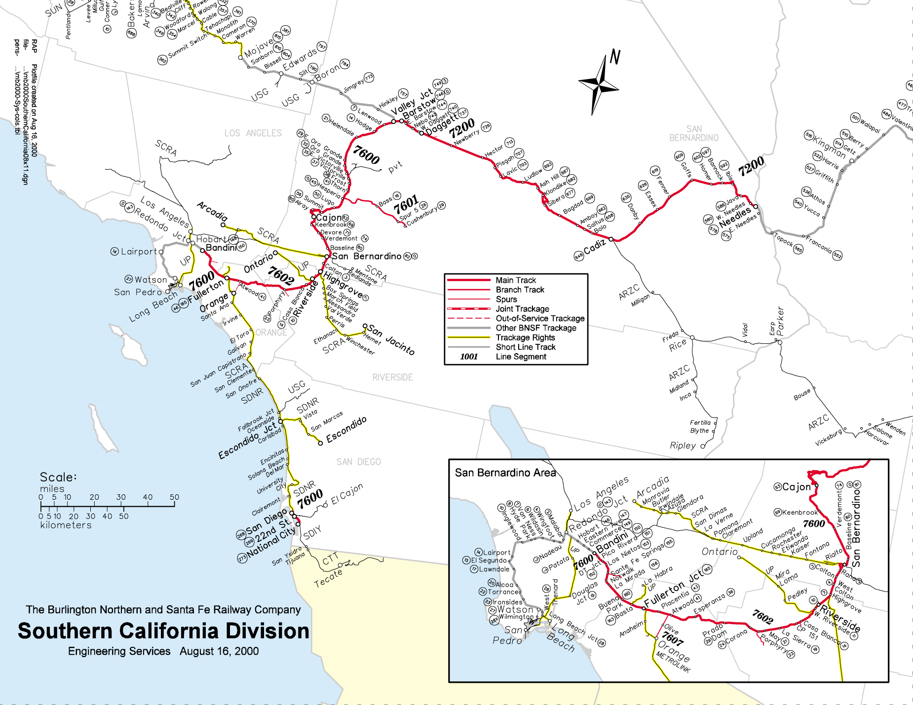 Bnsf Southern Ca Div Map California State Map Southern California - California Railroad Map