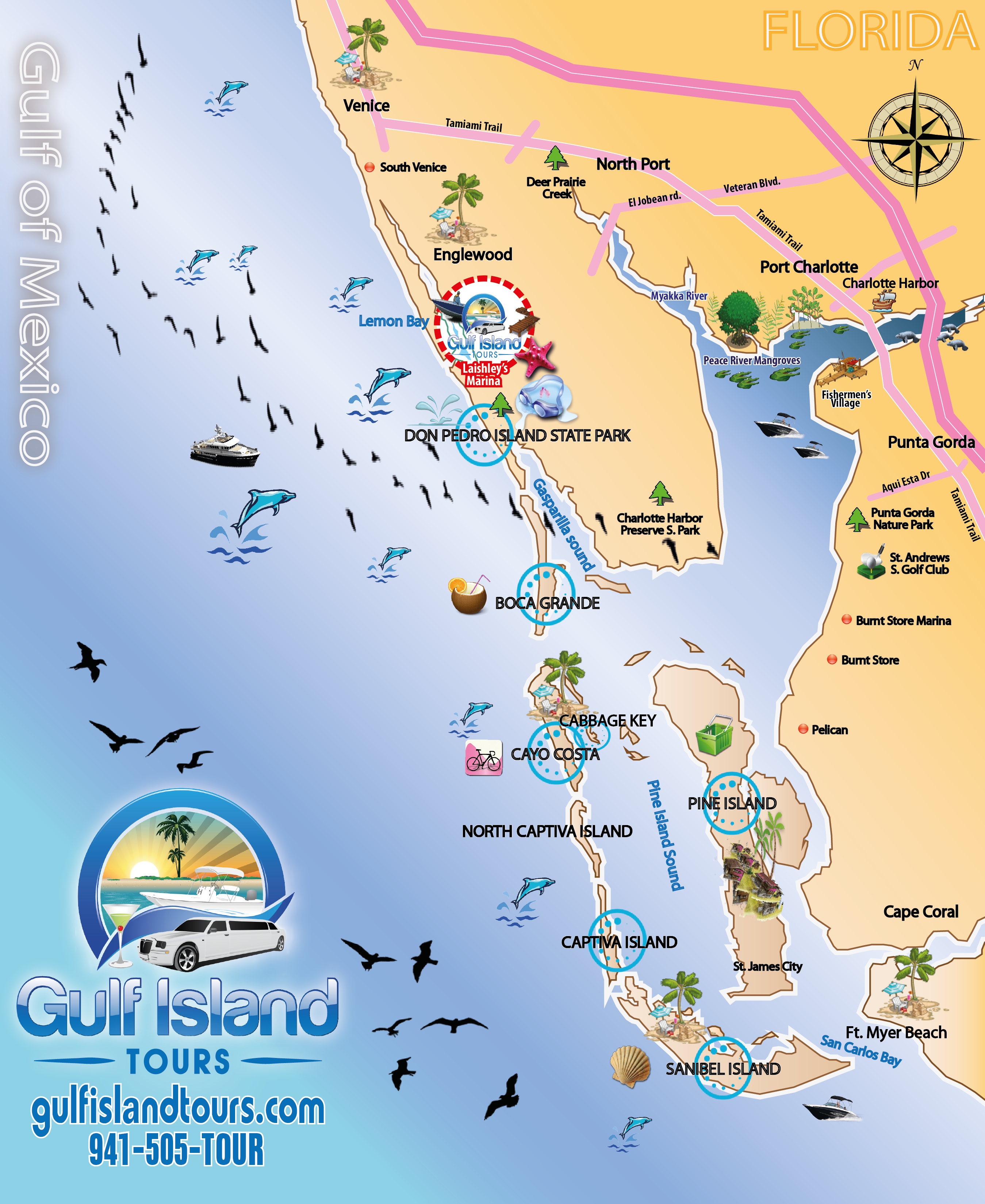 Boat Tours Englewood Fl - 941-505-8687 - Gulf Island Tours Offers - Florida Gulf Islands Map