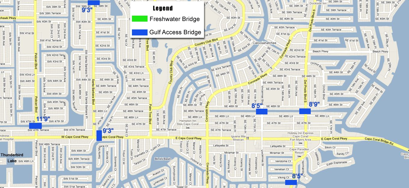 Boater's Information: The Locks And Bridges Of Cape Coral - Map Of Florida Including Cape Coral