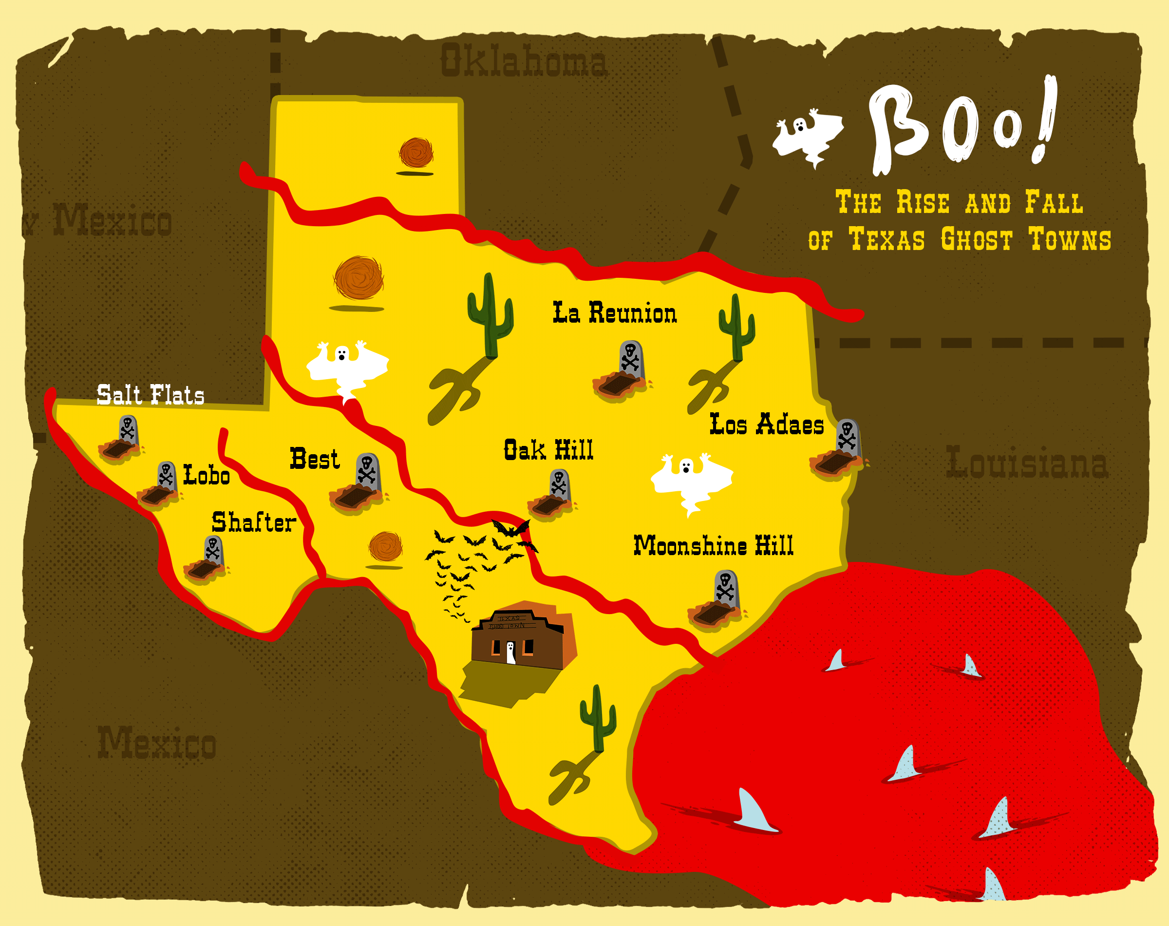 Boo: The Rise And Fall Of Texas Ghost Towns | Texas Standard - Texas Ghost Towns Map