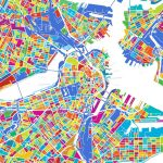 Boston Colorful Vector Map | Hebstreits Sketches   Printable Map Of Boston