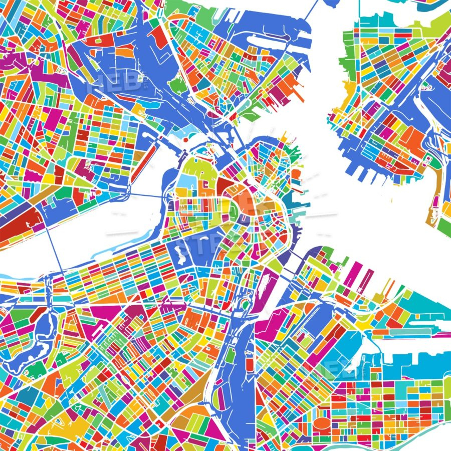 Boston Colorful Vector Map | Hebstreits Sketches - Printable Map Of Boston