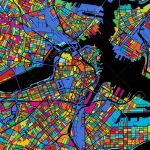 Boston Colorful Vector Map On Black, Printable Outline Version   Printable Map Of Boston