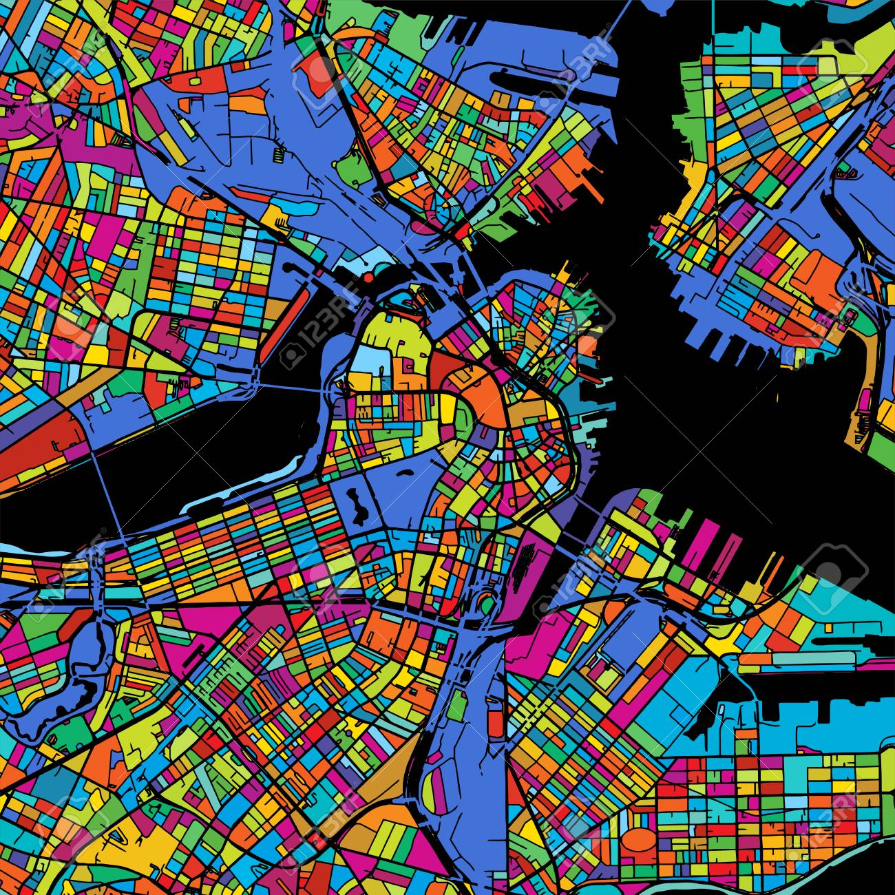 Boston Colorful Vector Map On Black, Printable Outline Version - Printable Map Of Boston