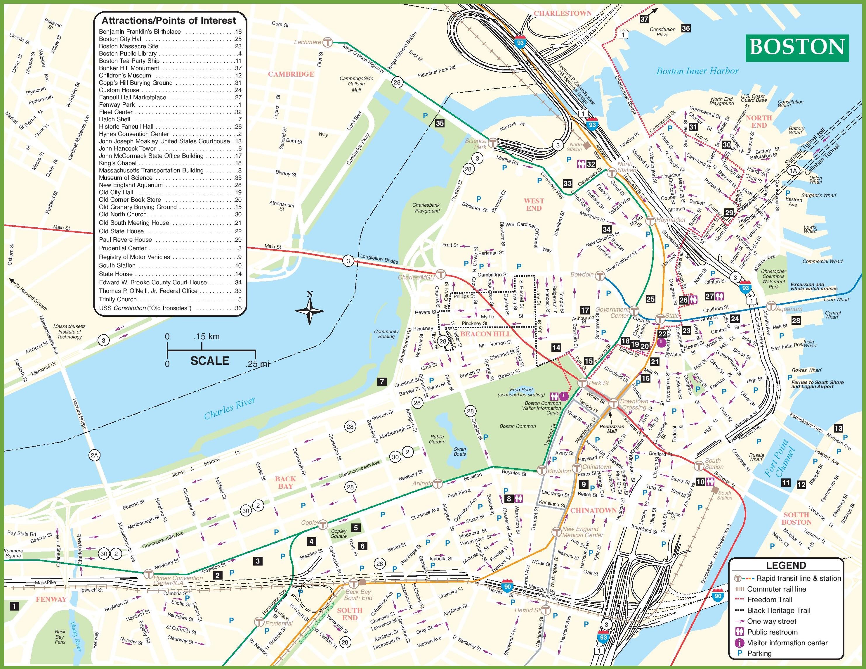 Boston Tourist Attractions Map - Boston Tourist Map Printable
