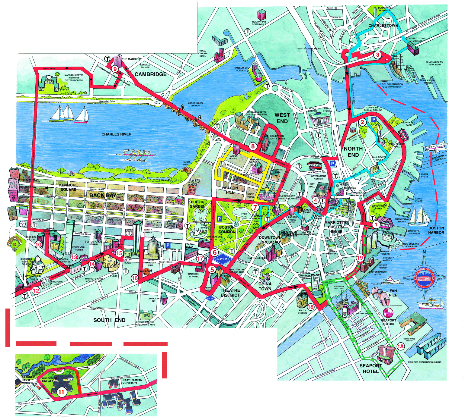 Boston Tourist Map And Travel Information | Download Free Boston - Boston Tourist Map Printable
