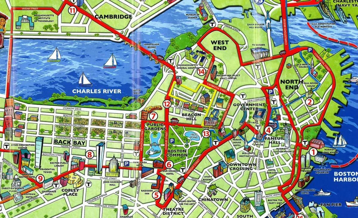 Boston Tourist Map - Tourist Map Of Boston (United States Of America) - Boston Tourist Map Printable